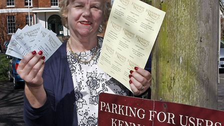 Di Bowerman at Kennaway House with parking permits. Picture by Terry Ife. Ref shs 3342-14-14TI To or