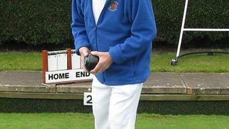Club president Michael Potter about to bowl the first wood of the 2014 season.