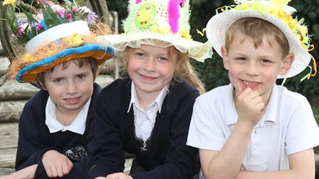 Children with their Easter bonnets at the Vicarage Road site of Sidmouth Primary School. Photo by Si