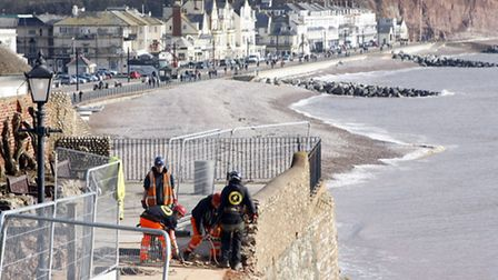 Workmen started to demolish the wall above cliff walk in Connaught Gardens in early March Photo by