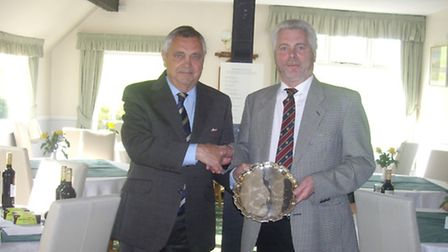 Nigel Sharpe presenting the silver salver to winning visitor R Clapp (Lyme Regis Golf Club) at the S