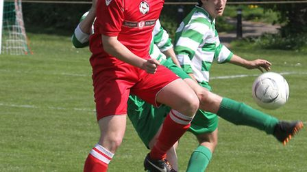 Action between Sidmouth and Budleigh Salterton at the Manstone ground on Good Friday. Photo by Simon