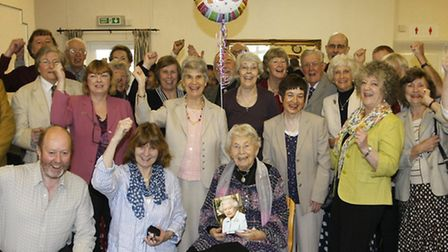Marjorie Hodnett celebrates her 100th birthday with family and friends at Abbeyfield Court. Photo by