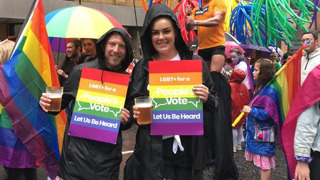 Protesters at an LGBT+ For A People's Vote rally. Picture: LGBT+ For A People's Vote