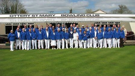 The Ottery St Mary bowls members at the start of the 2014 season, all wearing the club's new fleece