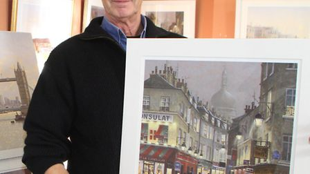 Sidmouth Art exhibition at Kennaway House. Rob Crisp some of his art work. Picture by Alex Walton. R
