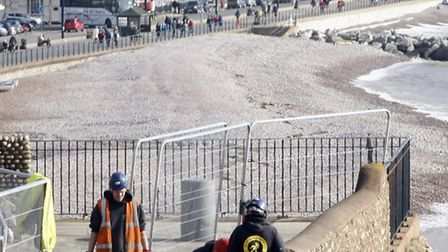 Workmen demolished the wall above cliff walk in Connaught Gardens in March. Photo by Terry Ife. Ref