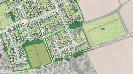 Early Redrow plans on how a development on the allotment field could look. The proposed site for new