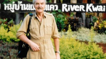 Raymond Savage on his return to the River Kwai in 1992