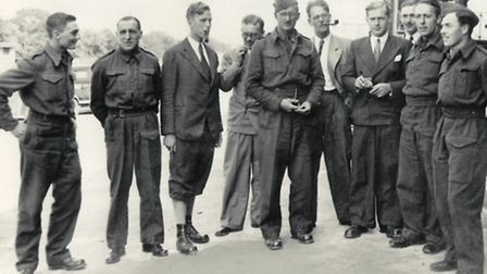Raymond (left) arriving at the internment camp in Sweden in 1940