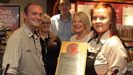 Daryl Shepherd,Hollie Nicholas,James Witty,April Witty and Jess Furzey of Costa coffee in Sidmouth w
