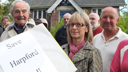 Harpford residents protest as the village hall may be sold off. Picture by Alex Walton. Ref shs 1982
