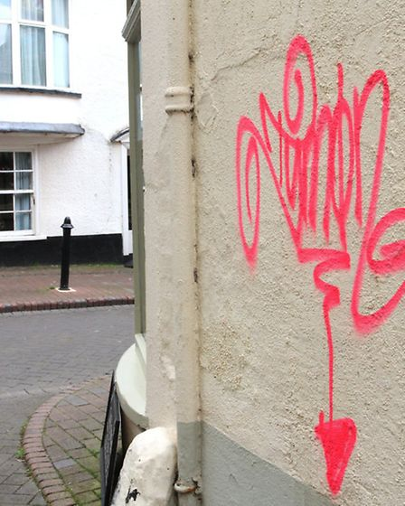 Graffiti on a building in Chapel Street this week. Photo by Simon Horn. Ref shs 2075-20-14SH To orde