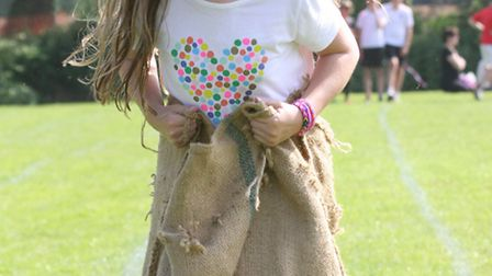 Sack race fun at the Sid Vale Athletic meeting on Sunday. Photo by Simon Horn. Ref shs 2837-21-14SH