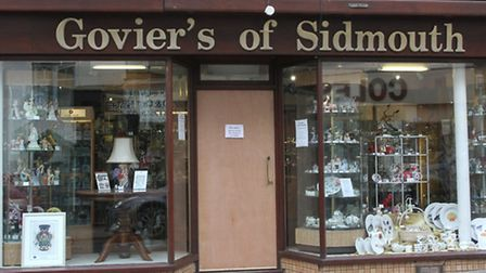 The damaged door at Govier's of Sidmouth this week. Photo by Simon Horn. Ref shs 1104-19-14SH To ord