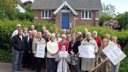 Harpford residents protest as the village hall may be sold off. Picture by Alex Walton. Ref shs 1972