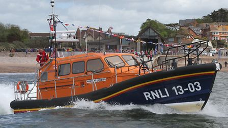 Exmouth RNLI's brand new Shannon class lifeboat the R and J Welburn which has had substantial fundin