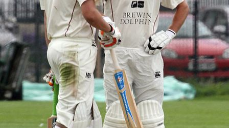 Sidmouth batsmen Liam Lewis and Josh Bess talk tactics against Exeter. Photo by Terry Ife. Ref shsp