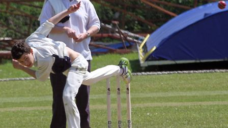 George Saville-Brown bowling for Ottery 2nds against Ipplepen. Photo by Terry Ife. Ref shsp 0066-21-