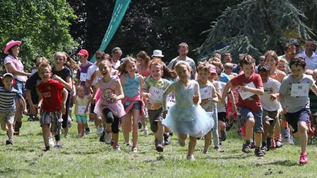 Mass start in the Sidmouth Primary School Fun Run in the Byes on Sunday. Photo by Simon Horn. Ref sh