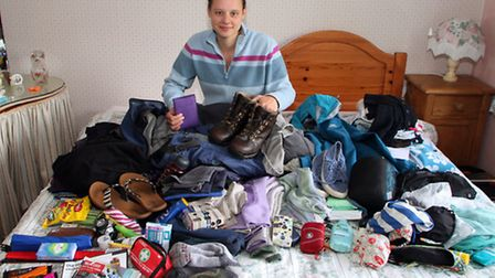 Charlotte Hall, 21, from Sidford packs her bag for her forthcoming Kilimanjaro trek in aid of the Ch