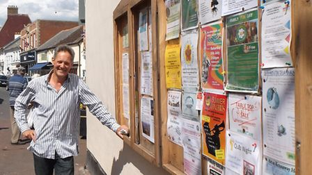 Steven Kendall-Torry with his Old Fore Street notice board
