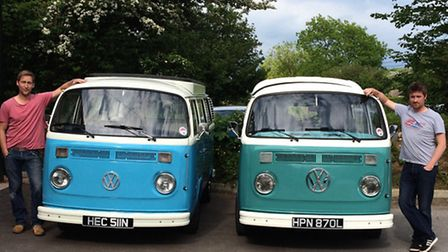 Greg and Matt Evans with their two VW campervans