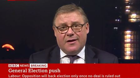 Mark Francois appears on the news to talk about a general election. Photograph: BBC News.