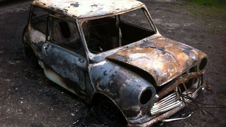 The 1968 MKII Austin Mini Cooper was found burnt-out in Frome, Somerset.