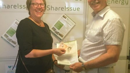 Rita Hedley signing up as the first investor of SidEnergy with director Derek Chant
