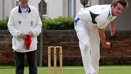 Will Gater bowling for Sidmouth 2nds against Plymouth 2nds. Photo by Terry Ife. Ref shsp 1100-24-14T