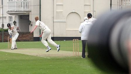 Sidmouth batsman Josh Bess at the crease against Exeter. Photo by Terry Ife. Ref shsp 0737-23-14TI T
