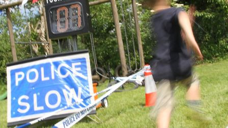Racing for the Police speed camera at the Sidbury village fete on Saturday. Photo by Simon Horn. Ref