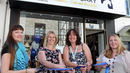Manager Jo Dormer (2nd from left) of the Mare & Foal Sanctuary shop in Sidmouth at the official open