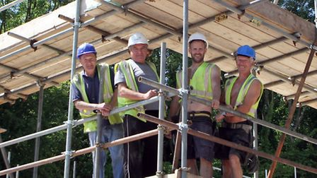 Building work at Beer C.L.T. is well underway. Allwood Timber Construction workers, Aaron Wicks, Kev