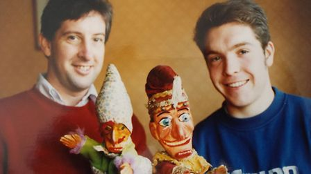 Philip with David Wilde and two Punch puppets