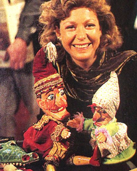 Hilary Kay with Philip's Punch and Judy set