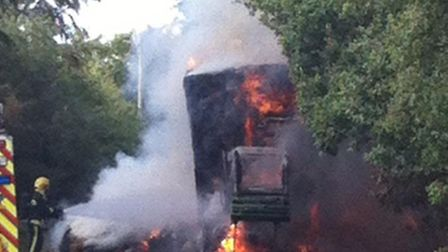 The tractor fire near the Hare and Hounds outside Honiton.Photo by Reece Seal.