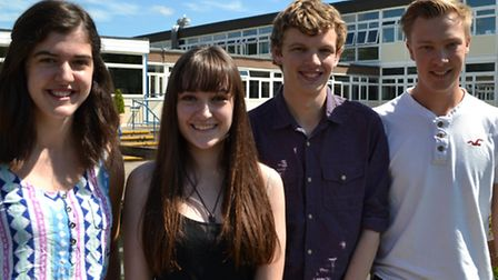 Sidmouth College's new assistant head girl Alice Barrett, head girl Ellen Drew, assistant head boy G