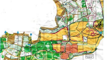 The map in Capite Woods in Sussex that the orienteering tackled