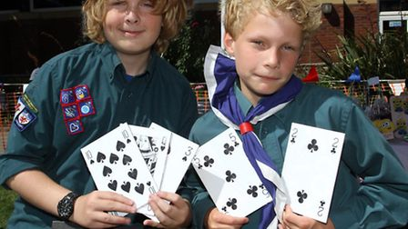 Alex Hammond and Jack Goodman ran the play your cards right stall at the Sidmouth Scouts fete. Photo