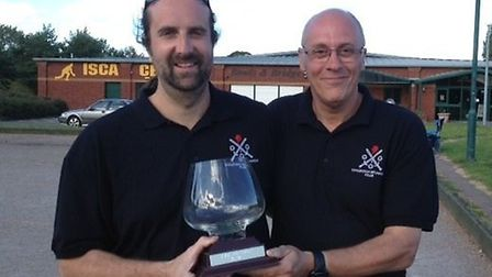 The winners of the Ottery St Mary Petanque Club Open Pairs competition Franck Depreaux and Thierry H