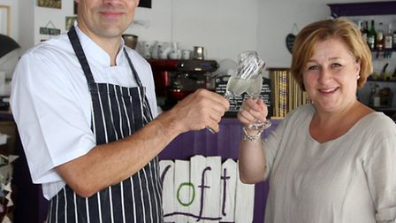 John and Katrina Lort of The Loft celebrate being in the top 100 restaurants outside London. Photo b