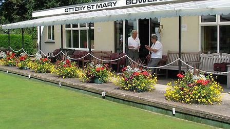 The floral disaply at Ottery St Mary Bowls Club that Anne House is responible for thanks to her magi