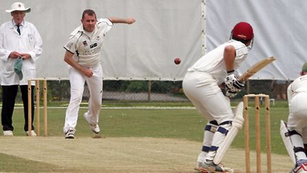 Fionn Wardrop bowling for Sidmouth 2nds against Plympton. Photo by Terry Ife. Ref shsp 2700-29-14TI