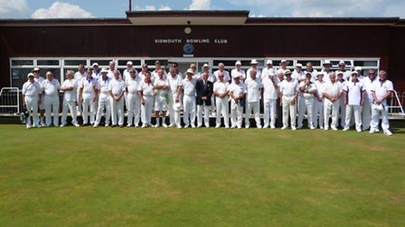 Players who took part in the Jubilee Cup meeting at Sidmouth Bowls Club in August