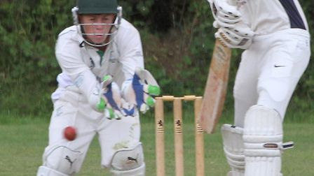 Ottery batsman Billy Reed against Shaldon Optimists. Photo by Terry Ife. Ref shsp 4480-33-14TI To or