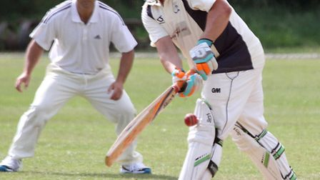 Ottery 2nds played Bradnich at the weekend. Rick Jackson blocks the stumps. Picture by Alex Walton.