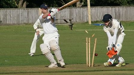 Tipton's David Jessop is bowled by Harry Peters