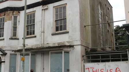 The former SES building on the high street has been targeted again this week. Photo by Terry Ife. Re
